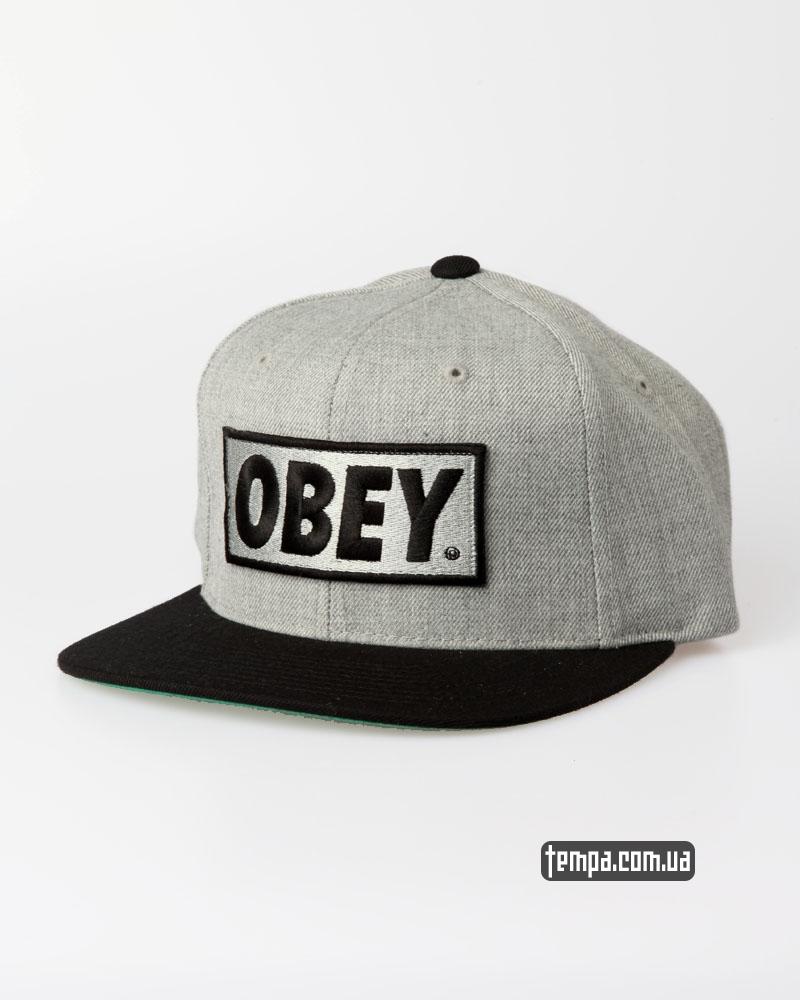 Купить кепку Obey Snapback серая | Tempa