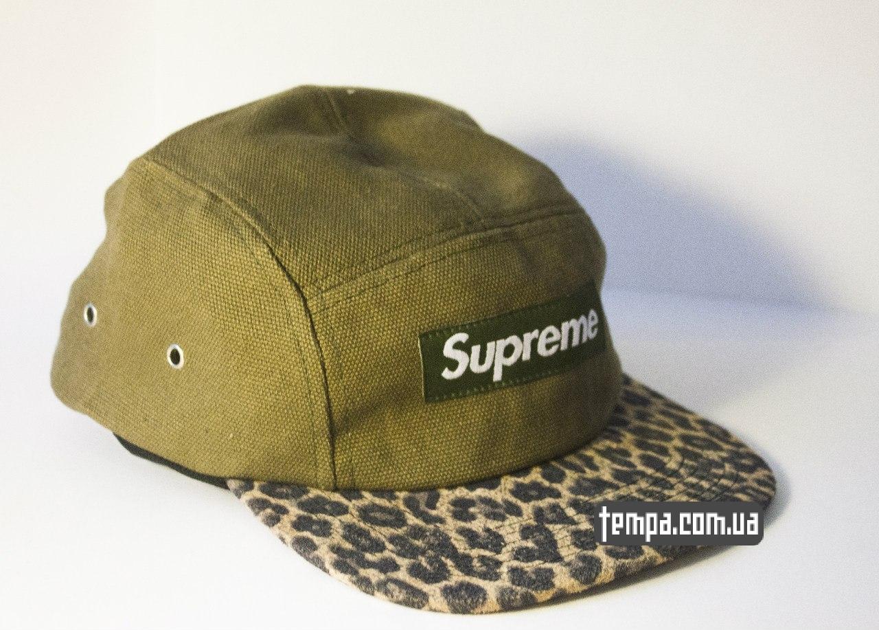 Пятипанельная кепка Supreme зеленая с леопардовым козырьком  8e122092ac2a7