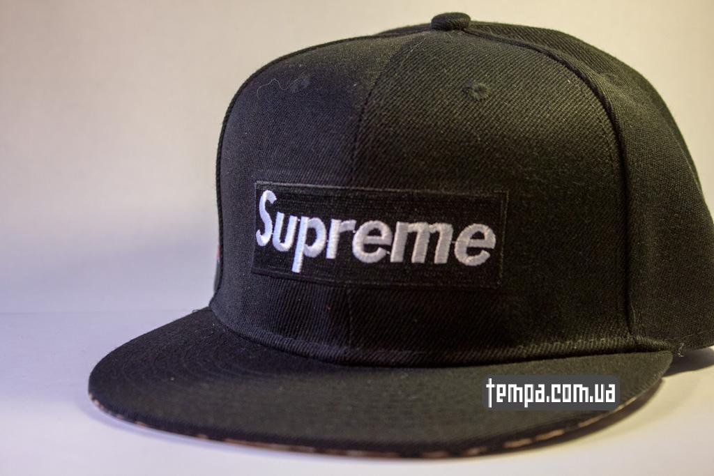 Кепка Snapback Supreme черная с леопардовым козырьком  3ee0a69ef4e99