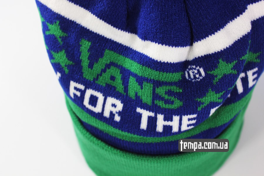 Шапка beanie VANS OFF THE WALL only for the elite зеленая с синим 6a42041c60895