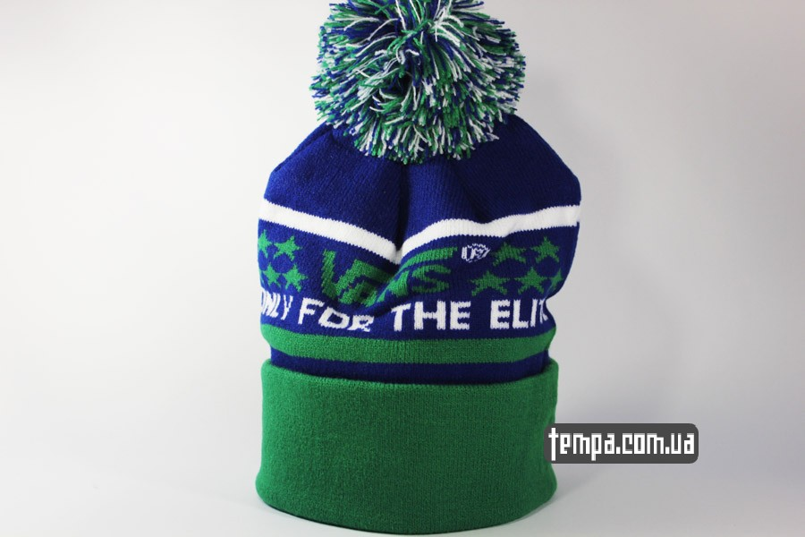 Шапка beanie VANS OFF THE WALL only for the elite зеленая с синим 33a789608725c