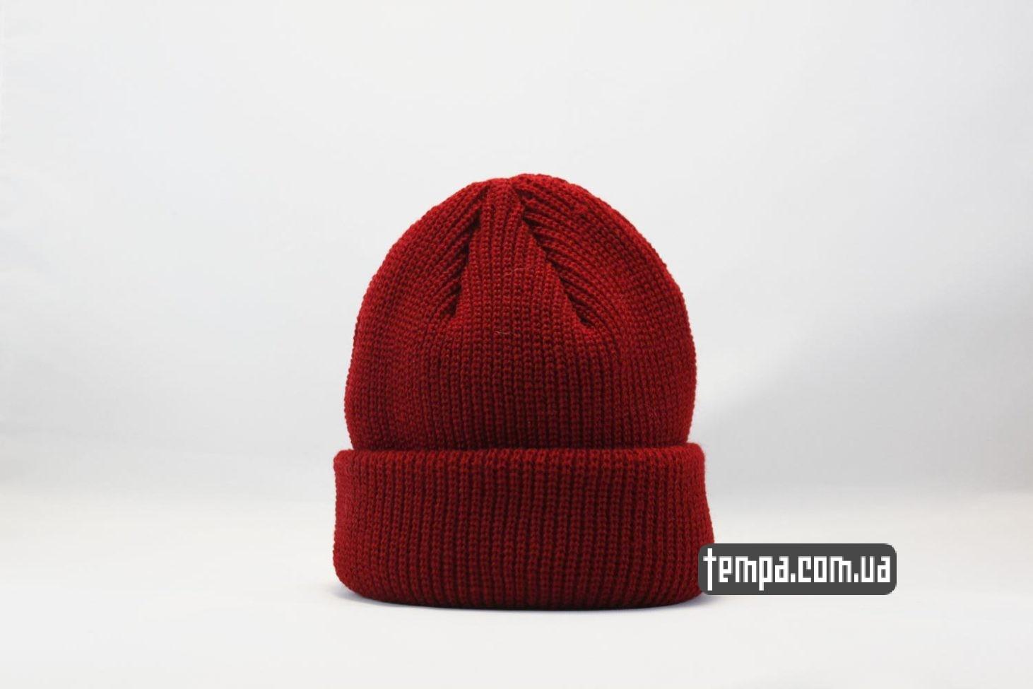 шапка beanie monatik ASOS красная коротка шапка