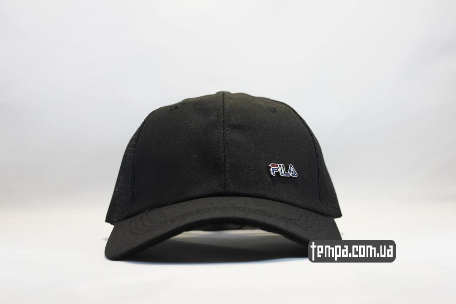кепка бейсболка FILA черная black trucker с сеточкой