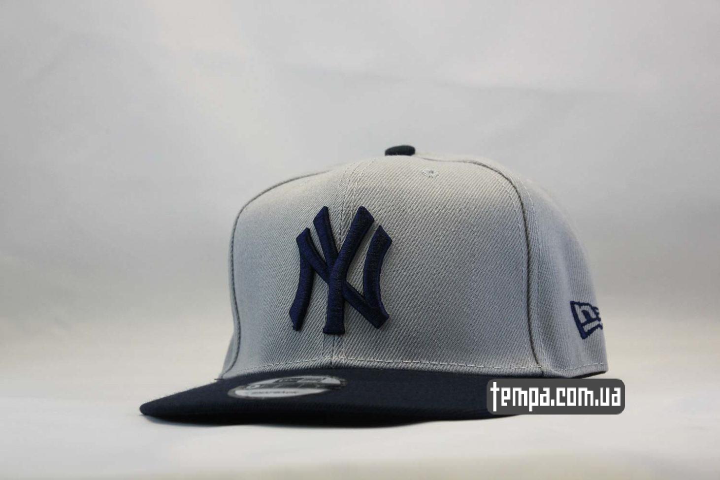кепка snapback Yankees New York NY New Era серая с синим логотипом