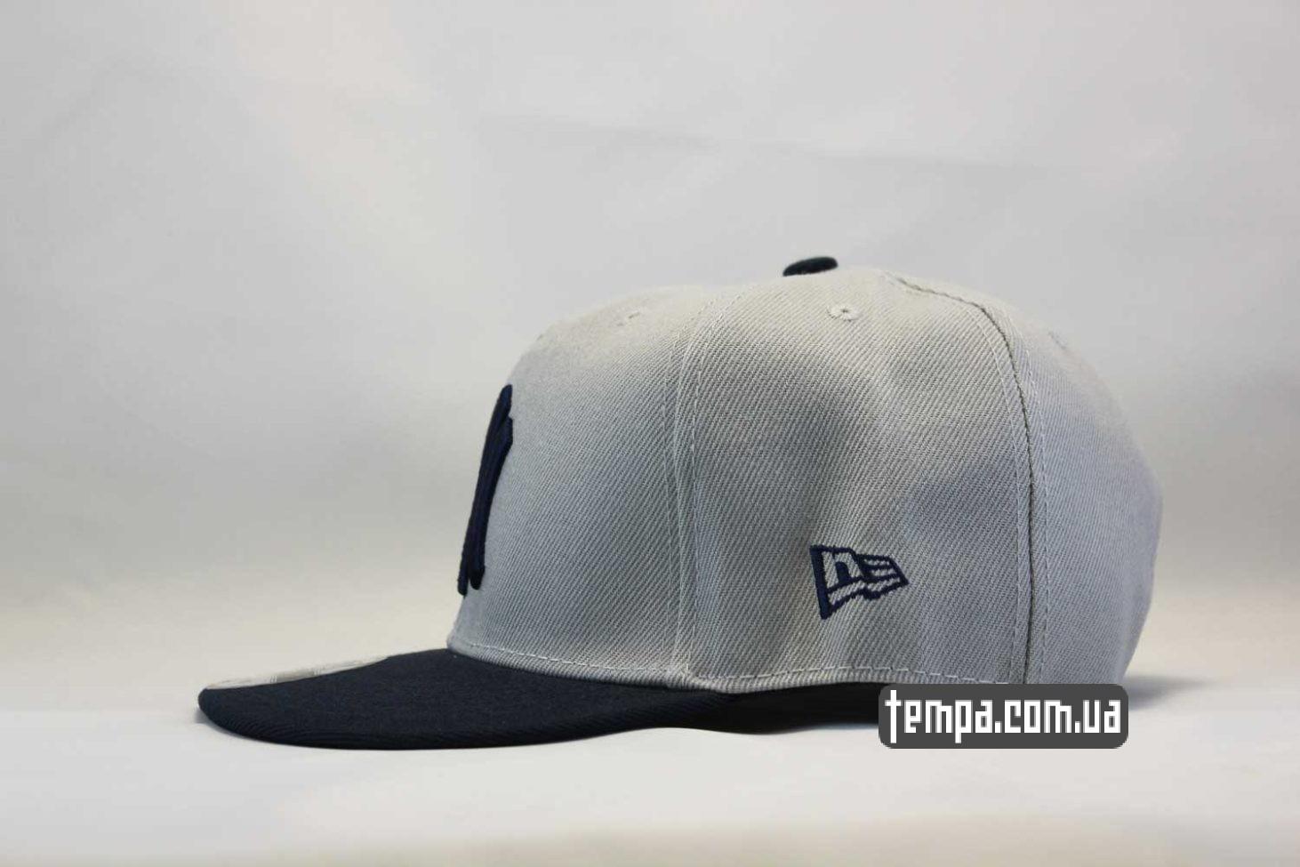 ровный прямой козырек кепка snapback Yankees New York NY New Era серая с синим логотипом