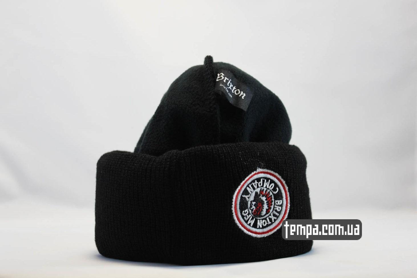 двойная теплая зимняя шапрка beanie BRIXTON mfg company черная с индейцем