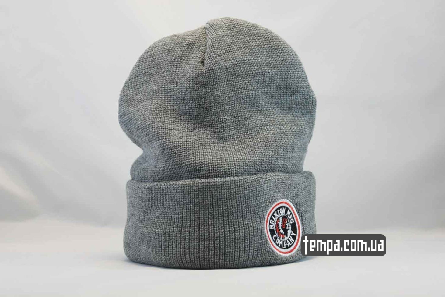 шапка beanie BRIXTON MFG CO серая indian с индейцем