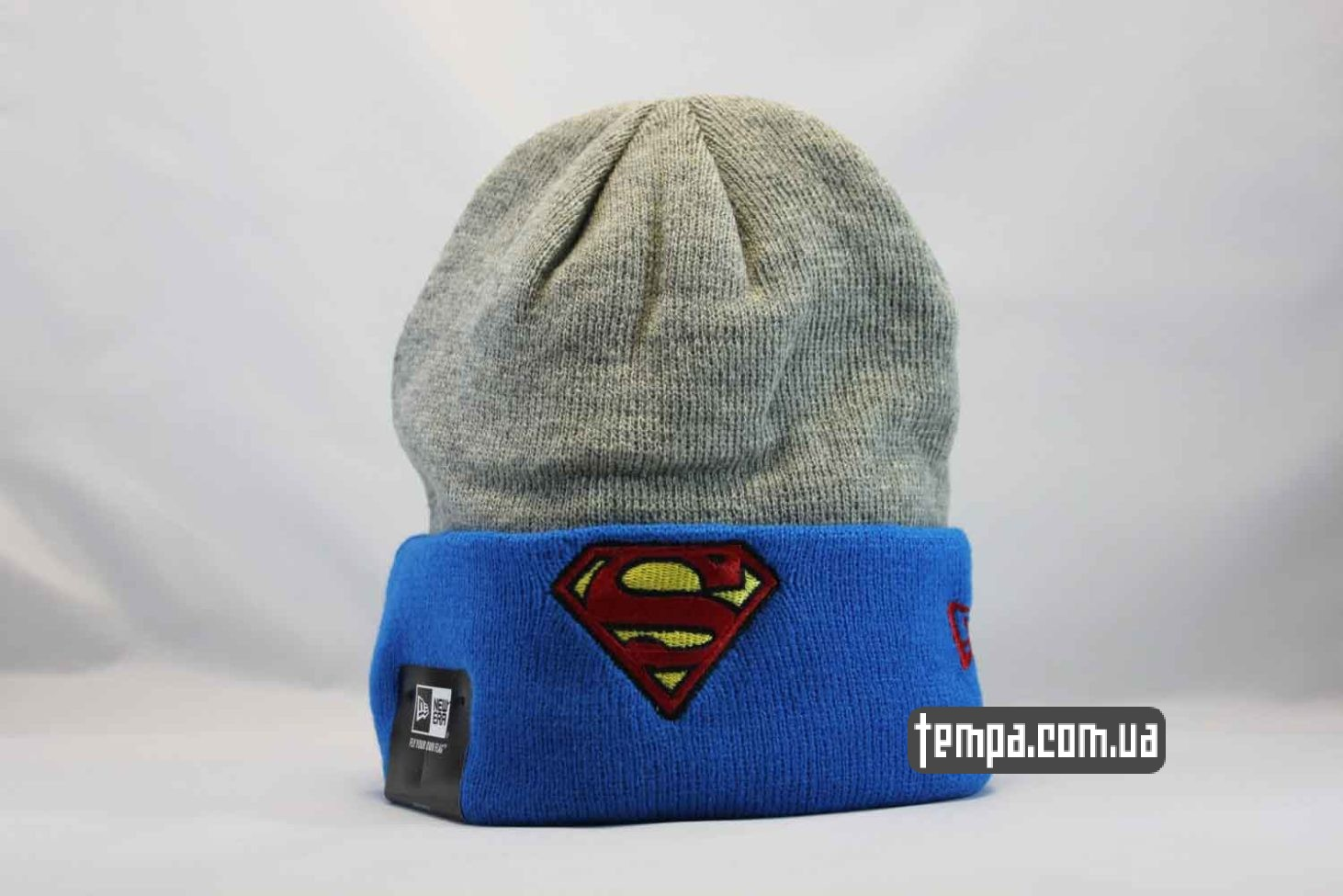 шапка beanie SUPERMAN NewEra синяя серая