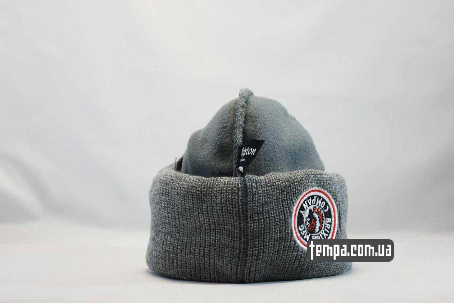 теплая зимняя двойная шапка beanie BRIXTON MFG CO серая indian с индейцем