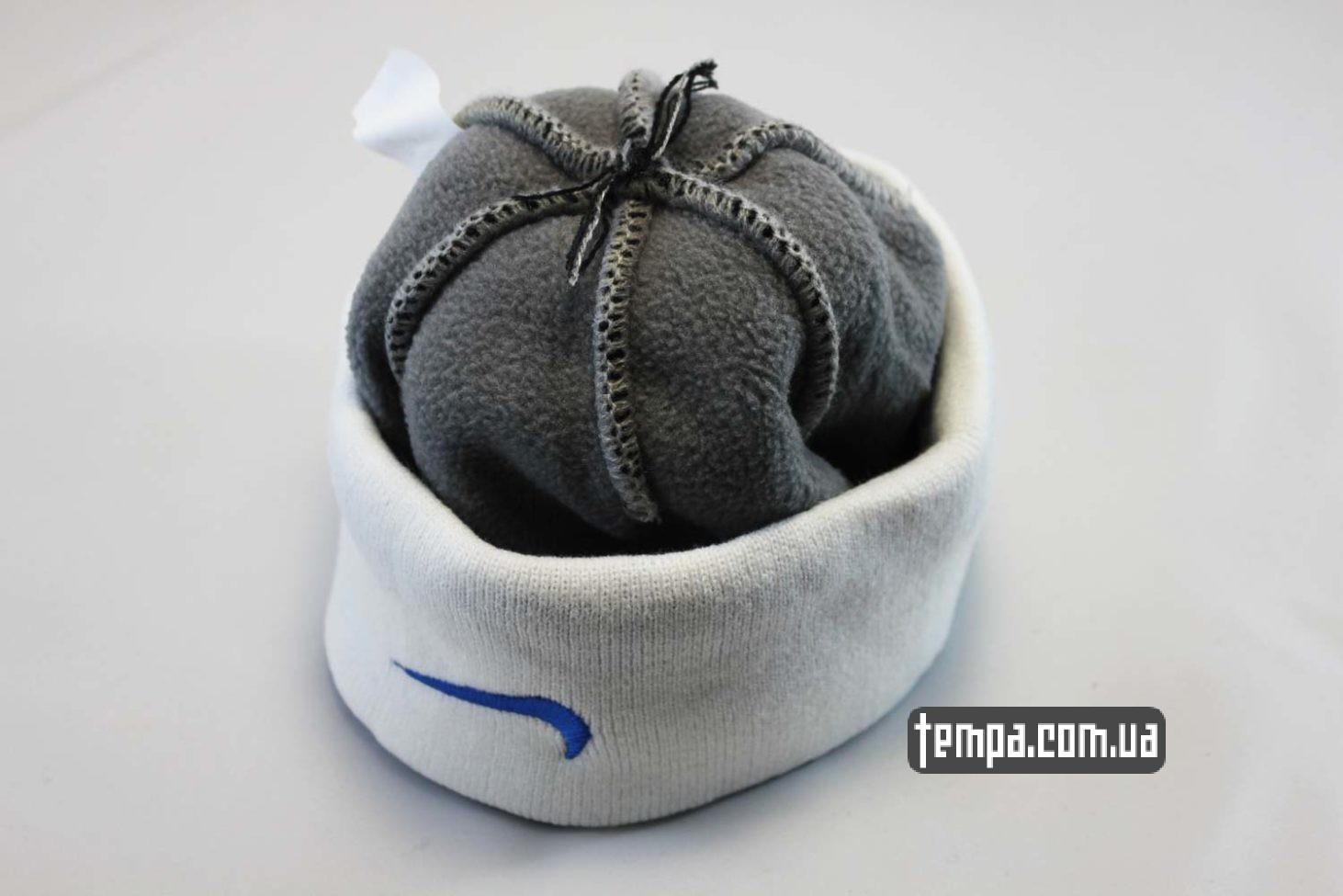 теплая зимняя шапка шапка beanie NIKE classic oldschool белая с синим