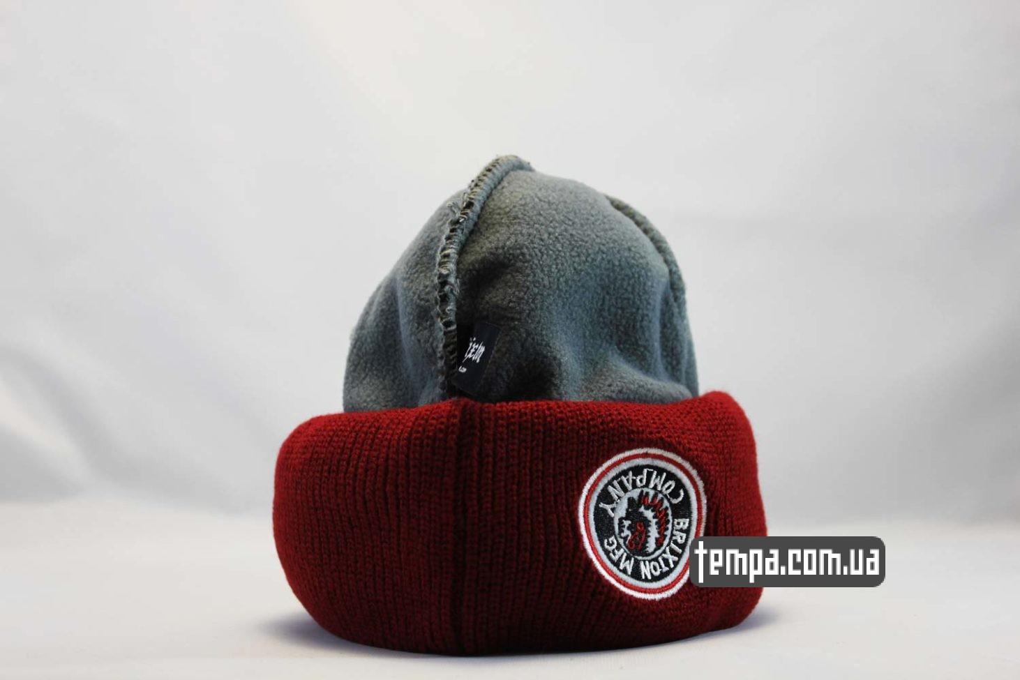 теплые зимние шапки шапка beanie brixxton mfg company indian красная черная с индейцем