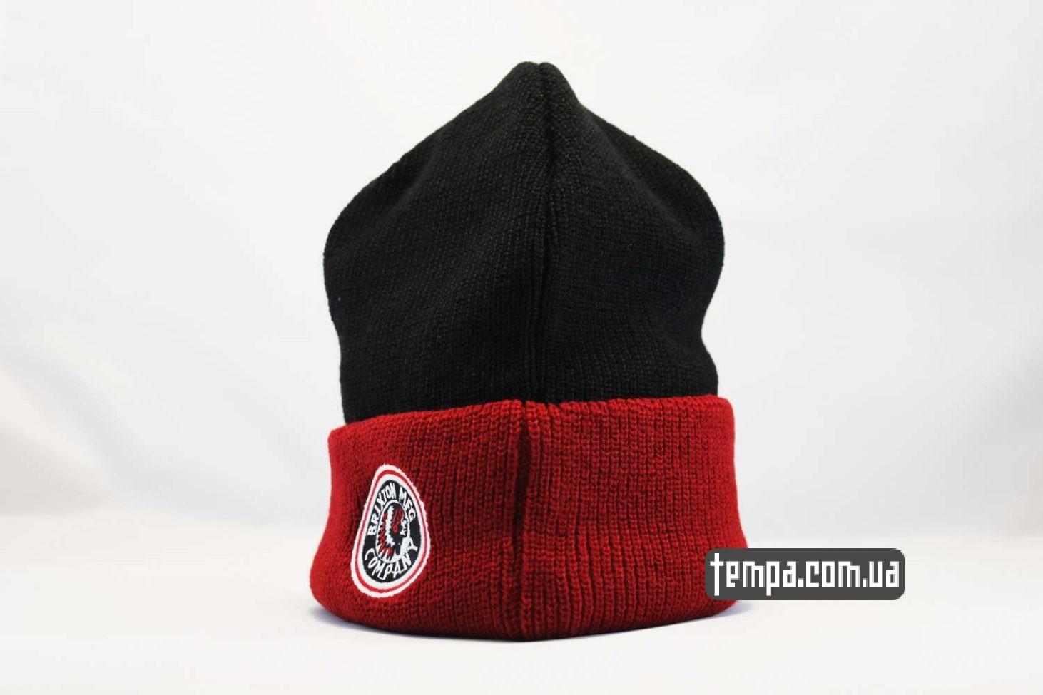 украина магазин зимних шапок шапка beanie brixxton mfg company indian красная черная с индейцем