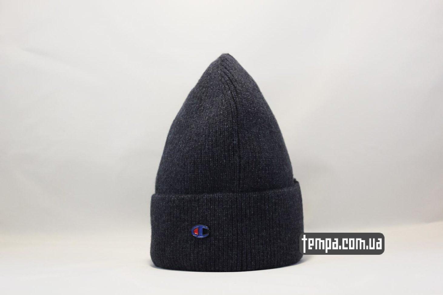 бини одежда зимняя шапка beanie Champion black черная купить Украина