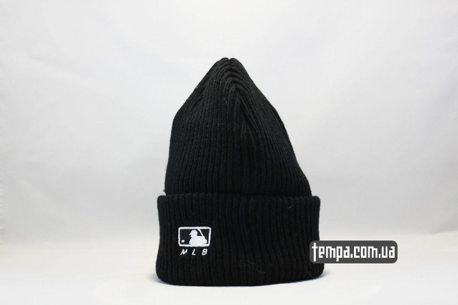 шерстяная мягкая шапка beanie LA Los Angeles New Era black черная