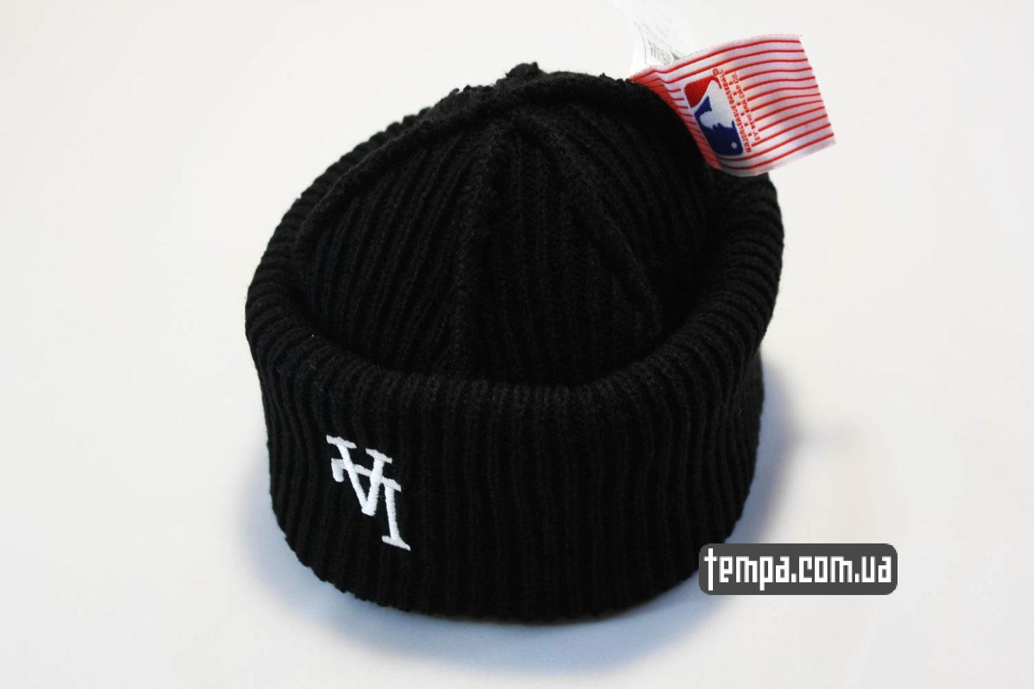 зимняя двойная мужская женская бини шапка beanie LA Los Angeles New Era black черная