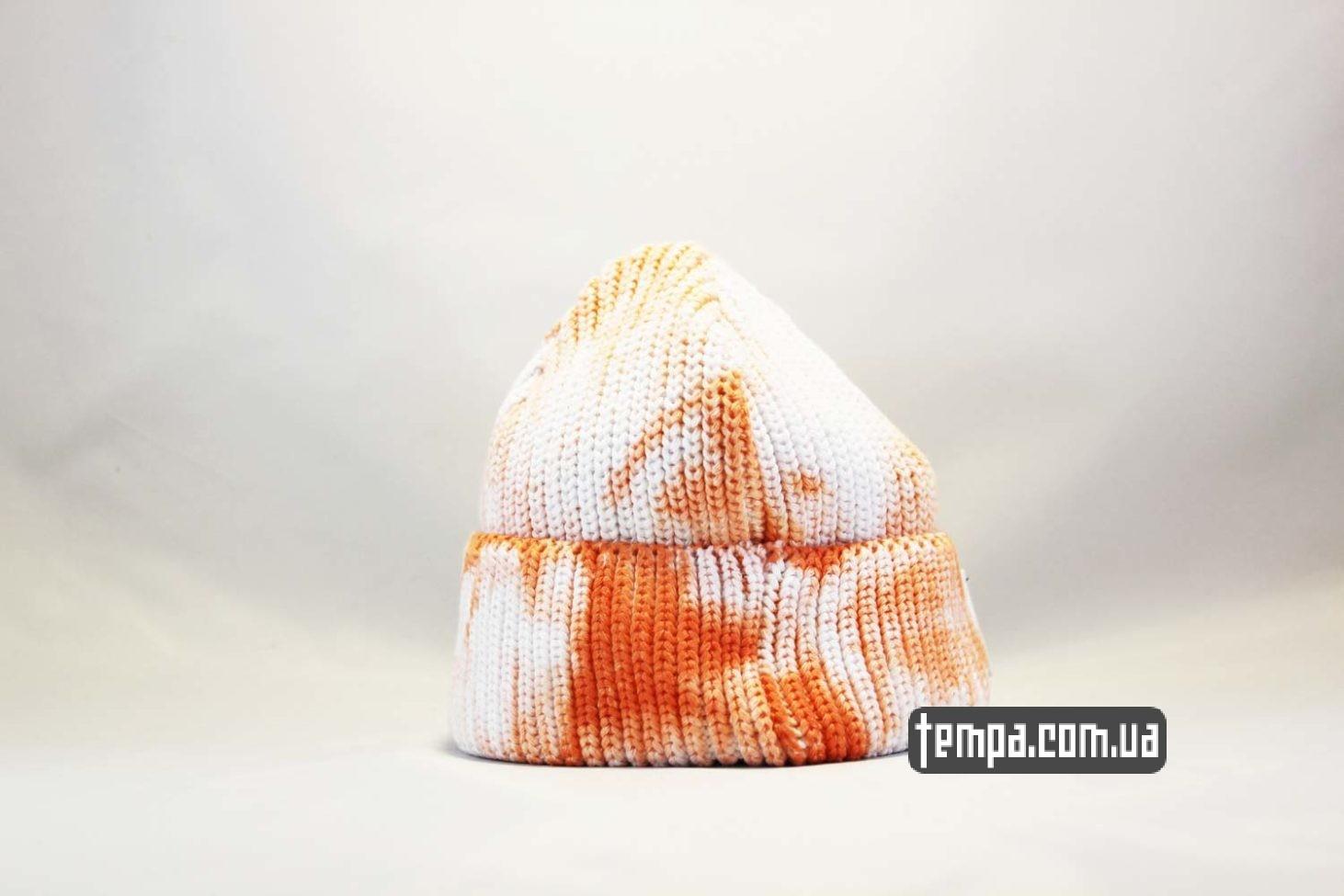 бини украина короткая шапка beanie Carhartt пятнистая оранжево-белая