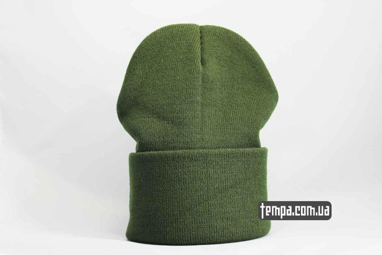 болотная бини шапка beanie Carhartt кожаная зеленая с логотипом