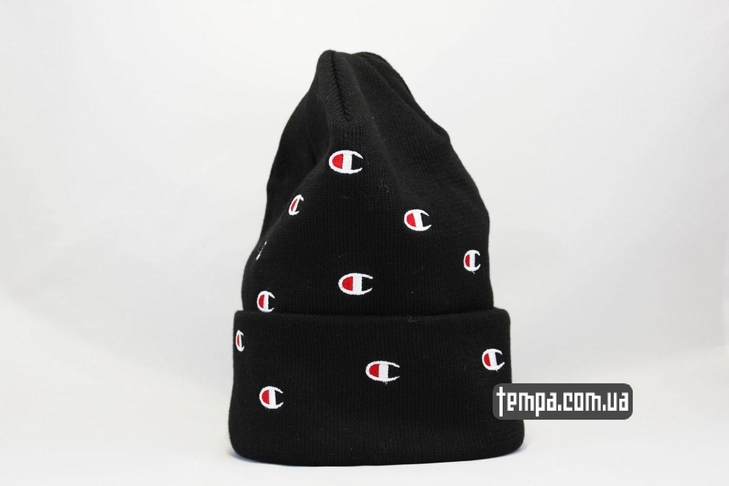 чемпион одежда купить шапка beanie Champion black черная с логотипами