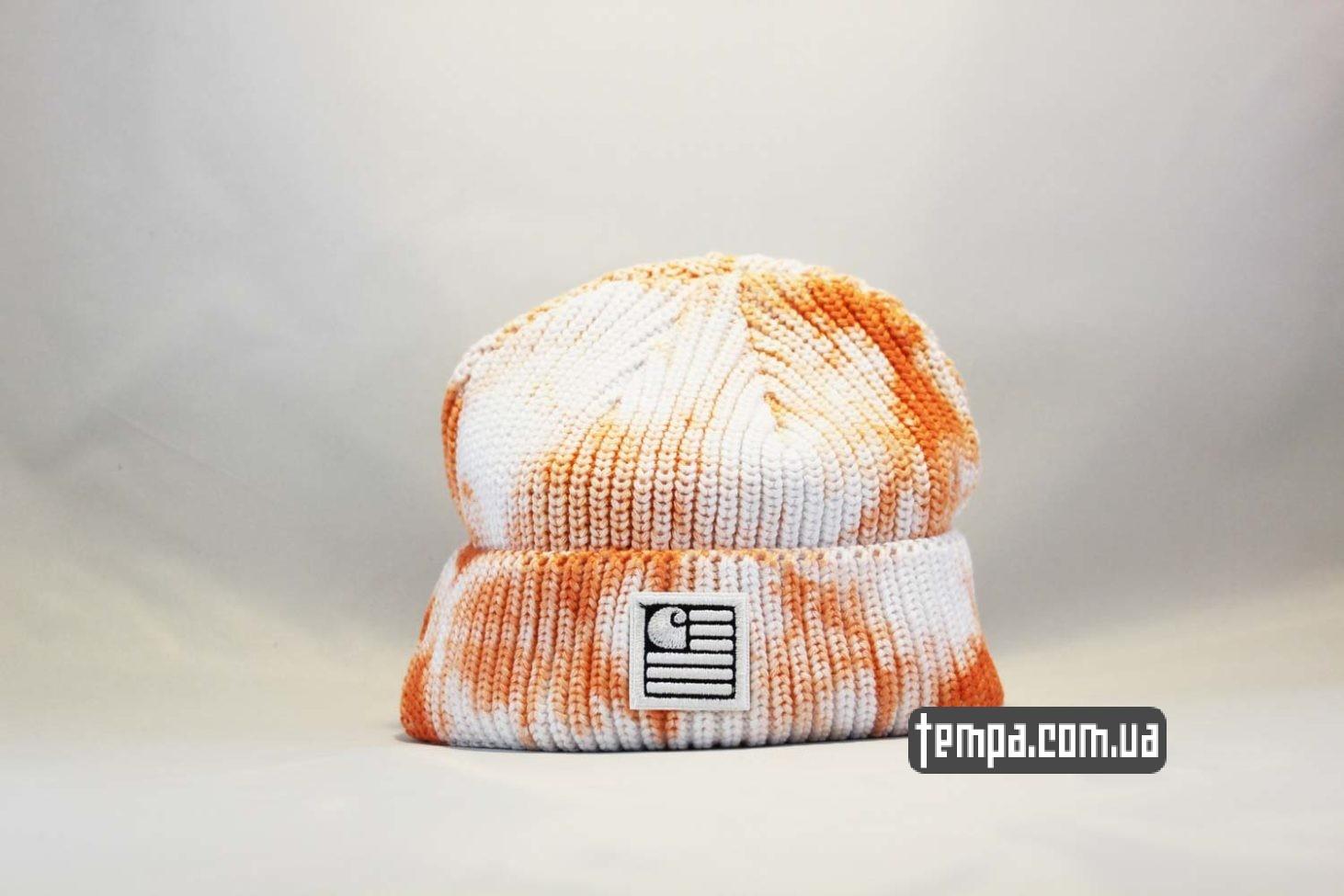 короткая шапка beanie Carhartt пятнистая оранжево-белая