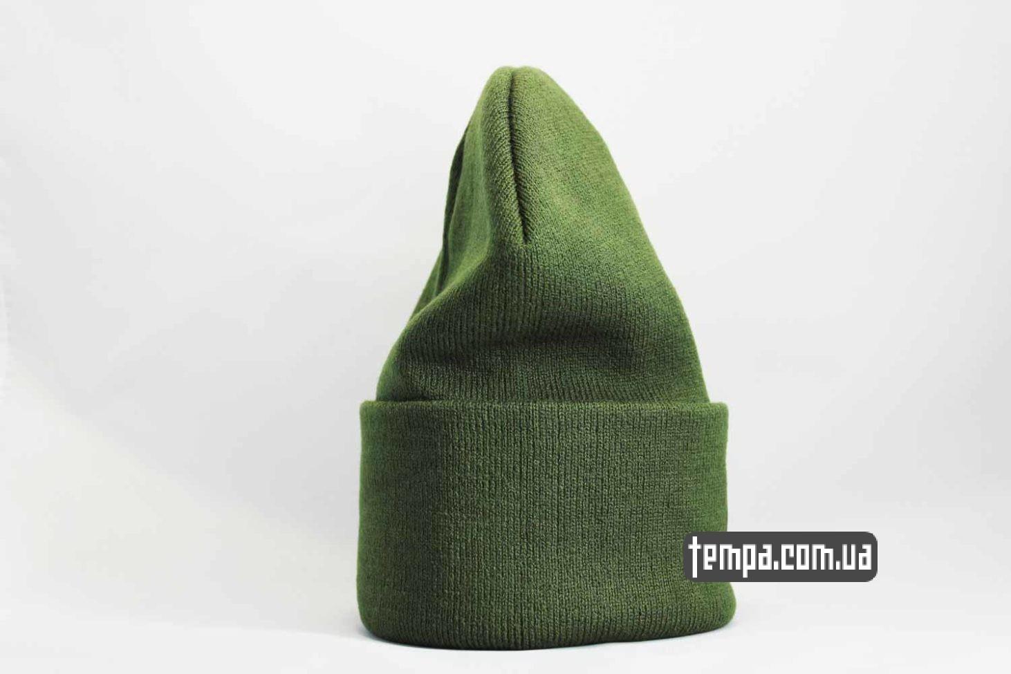 leather carhartt шапка beanie Carhartt кожаная зеленая с логотипом