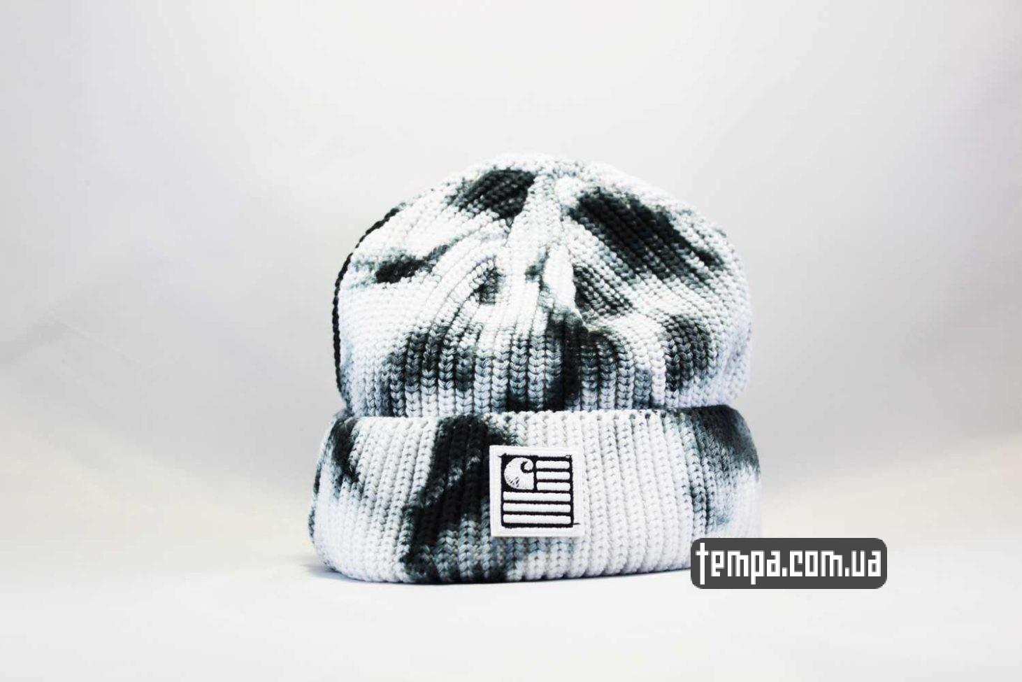 шапка beanie Carhartt пятнистая черно-белая