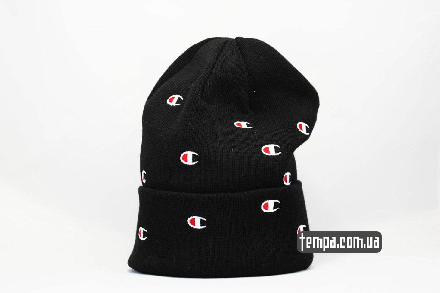 шапка beanie Champion black черная с логотипами