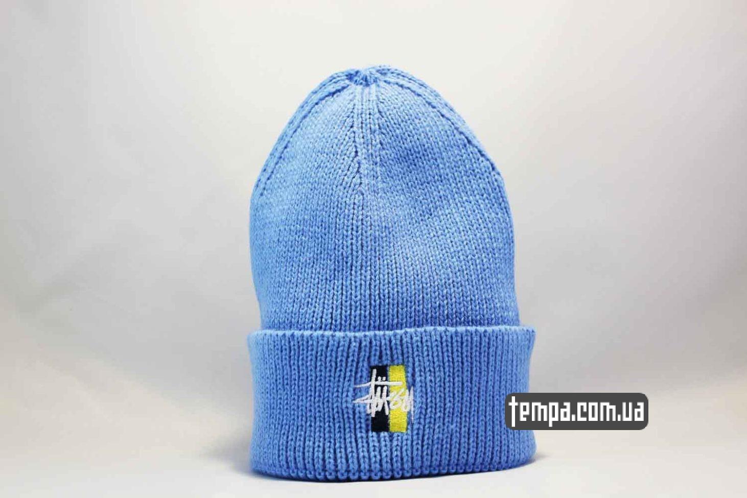 шапка beanie STUSSY Ukraine edition синяя с украинским флагом