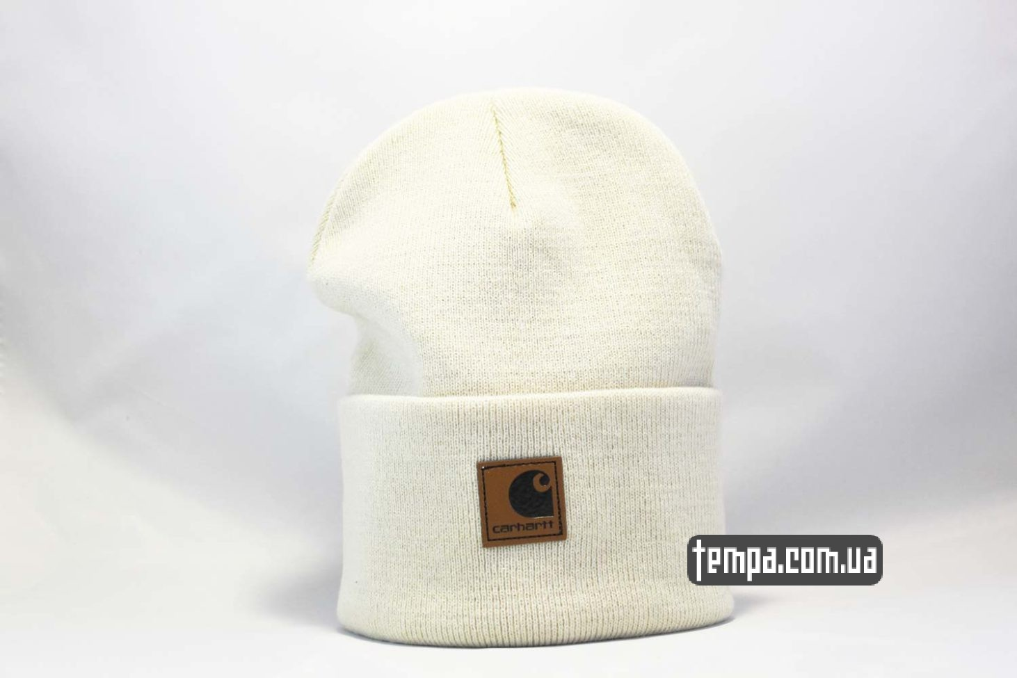 шапка beanie carhartt white leather кожаная
