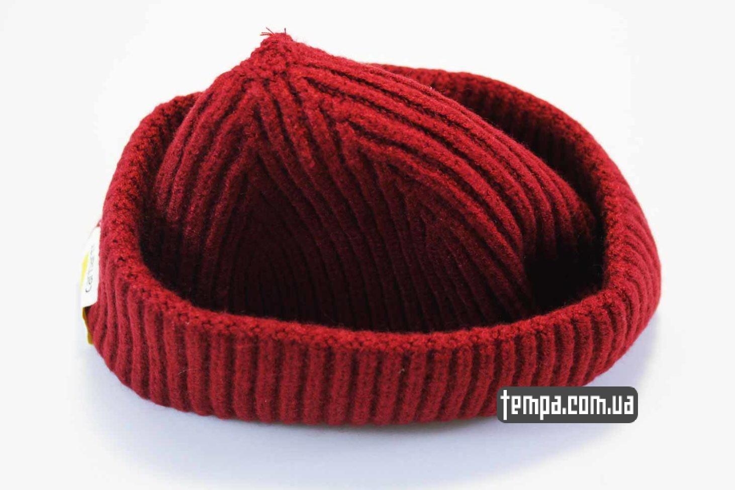 теплая зимняя двойная шапка beanie Carhartt red красная купить
