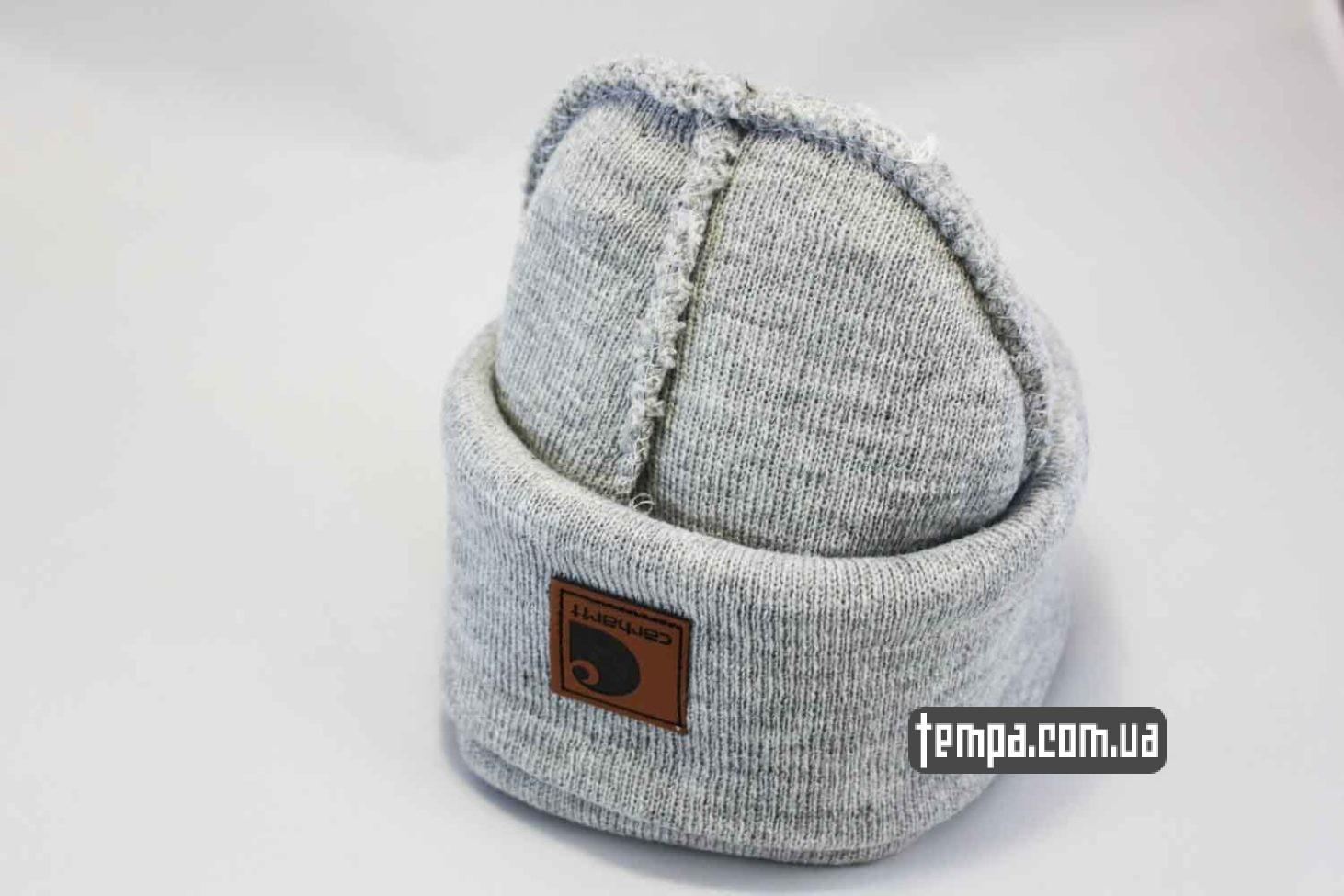 теплая зимняя шапка beanie Carhartt серая кожаный логотип