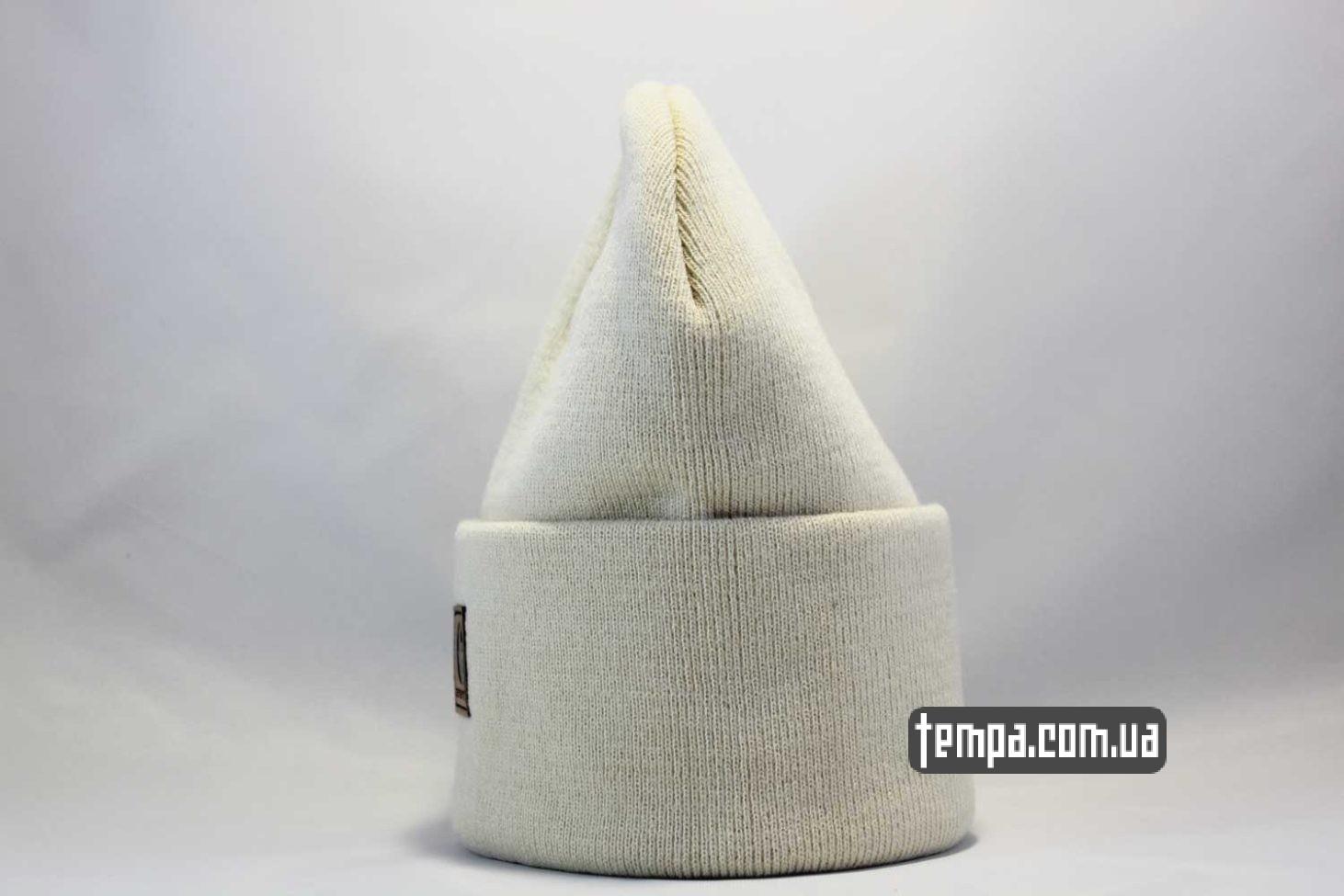 теплая зимняя шапка beanie carhartt white leather кожаная