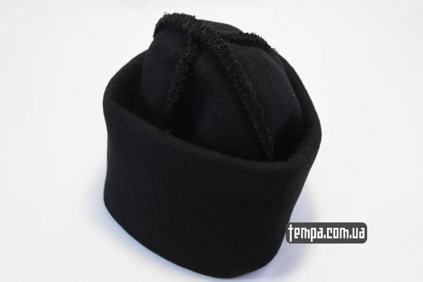 теплая зимняя шапка beanie чисто черная без надписей ASOS купить Украина