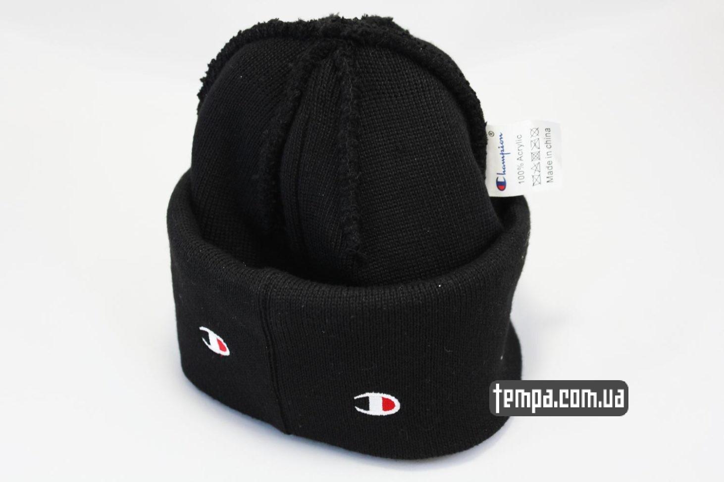 теплая зимняя шерастяная шапка beanie Champion black черная с логотипами