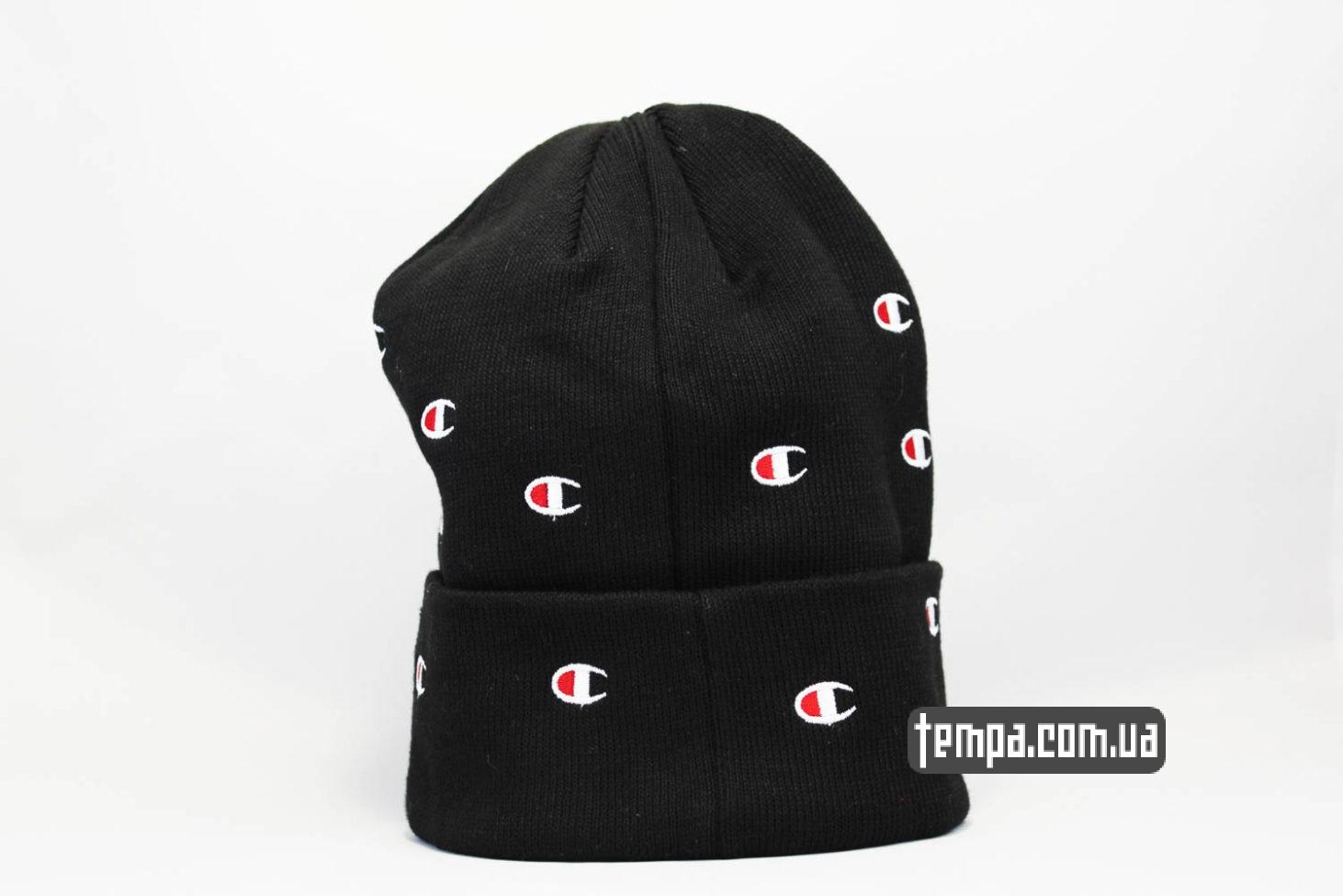 зимние бини купить шапка beanie Champion black черная с логотипами