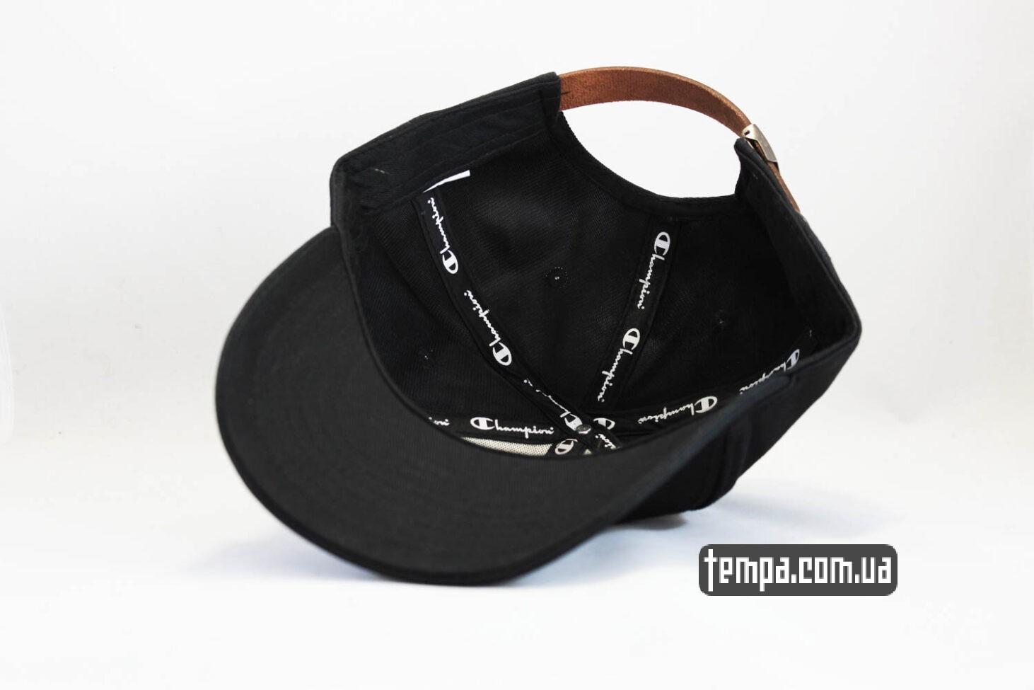 чемпион одежда кепка бейсболка Champion черная логотип сбоку-2