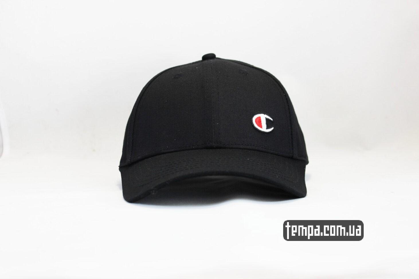 кепка бейсболка Champion черная логотип сбоку-2