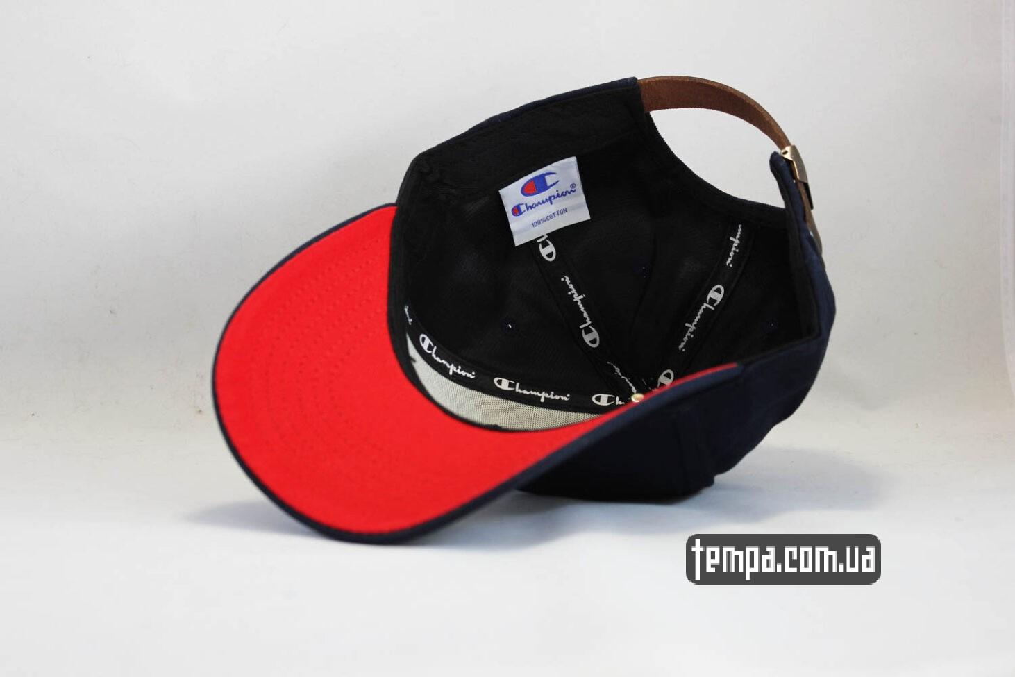 красный козырек кепка Champion snapback синяя с красны ободом-2