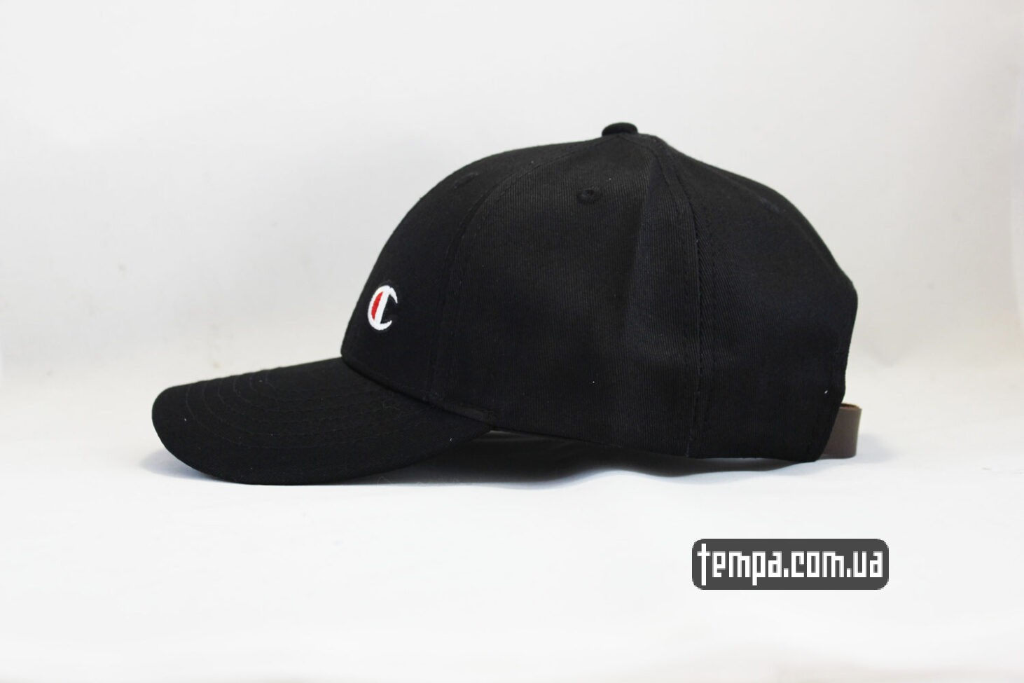магазин Украина кепка бейсболка Champion черная логотип сбоку-2