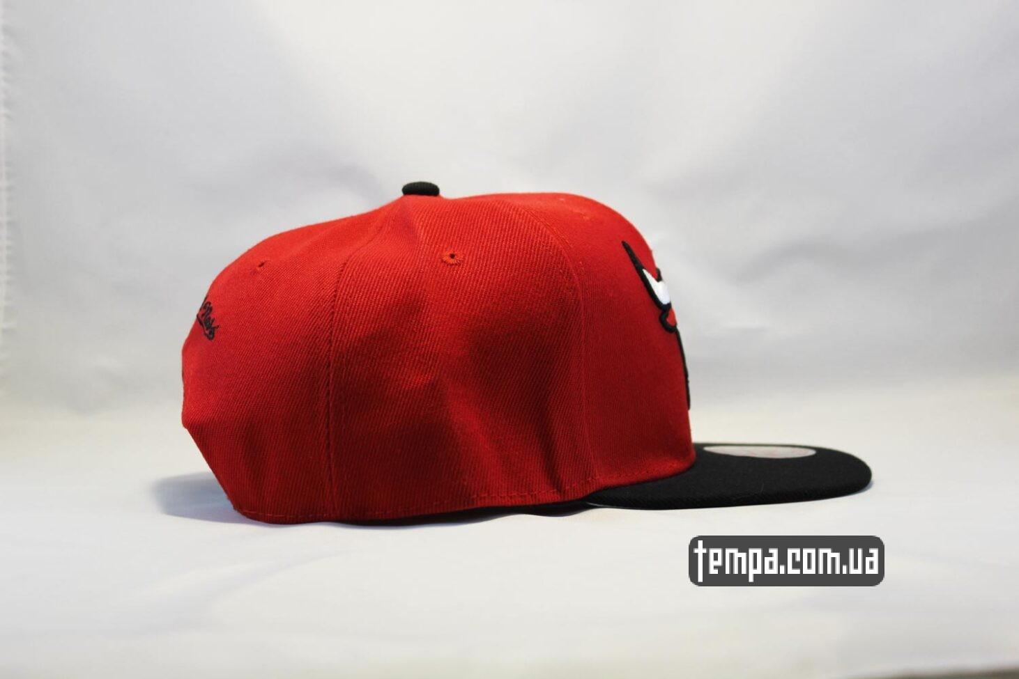 Red красная бык кепка snapback Chicago Bulls New Era красная с быком