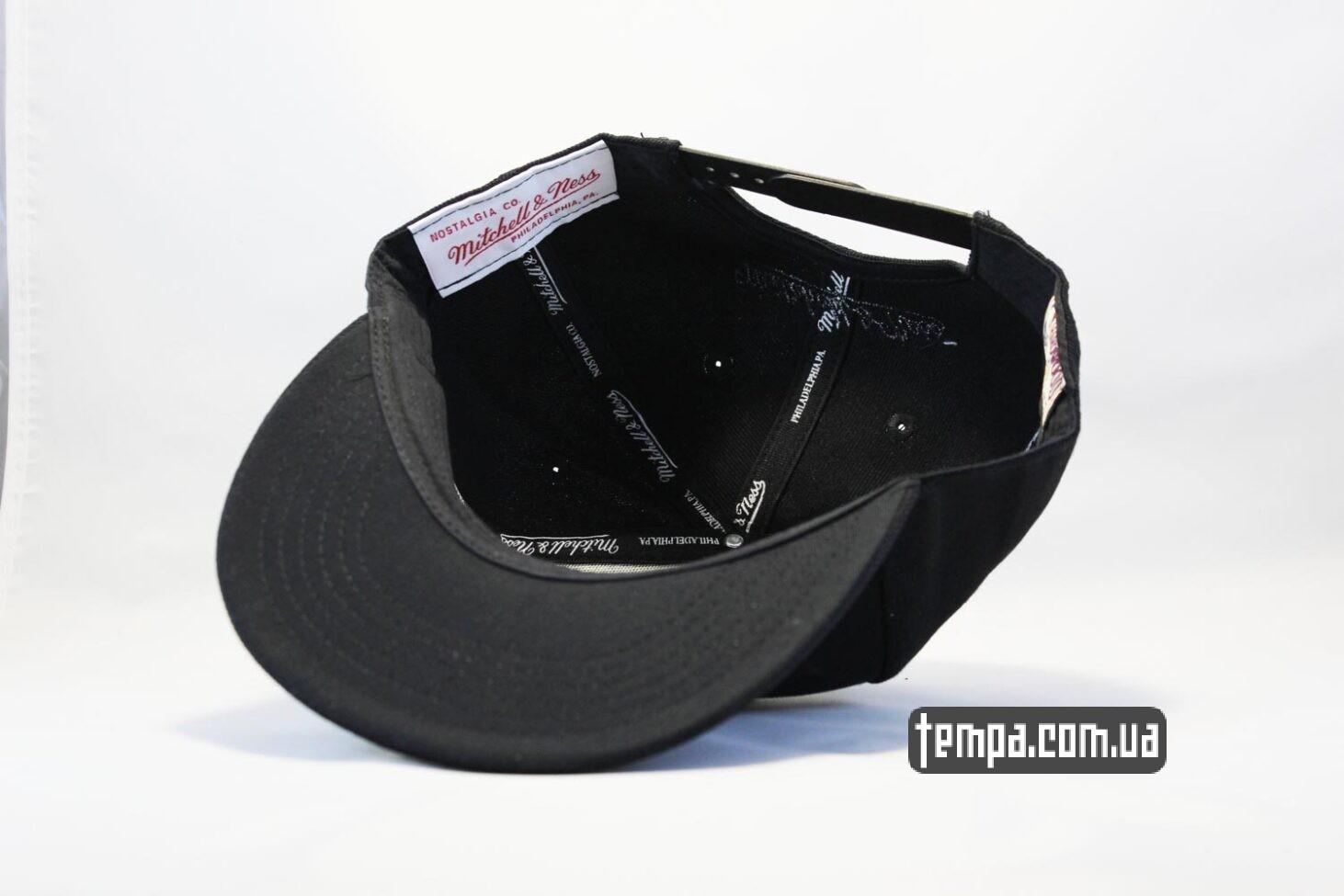 без логотипов кепка snapback Chicago Bulls black New Era черная с черным быком