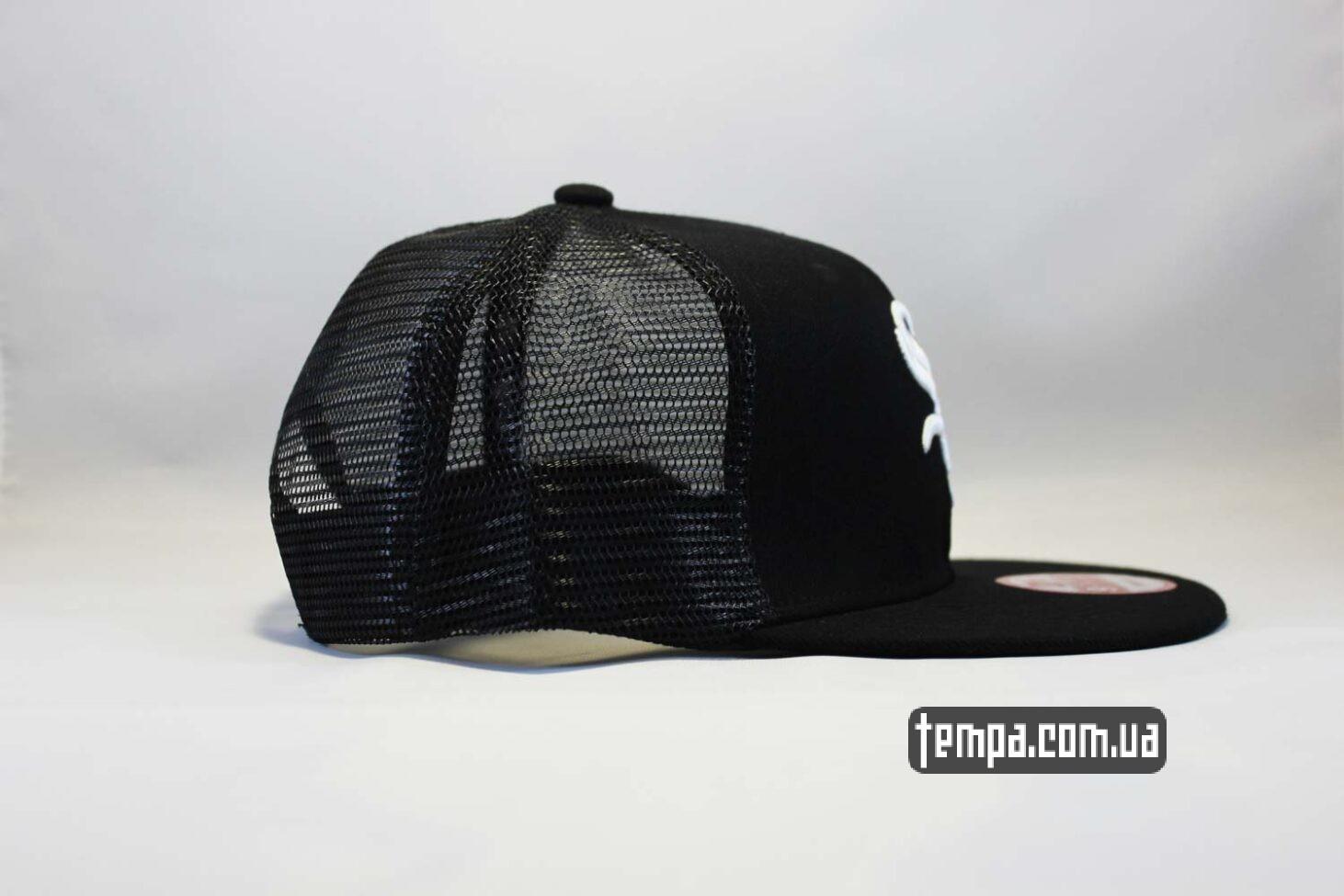 летняя бейсболка сетка кепка trucker snapback White SOX New Era 9fifty черная