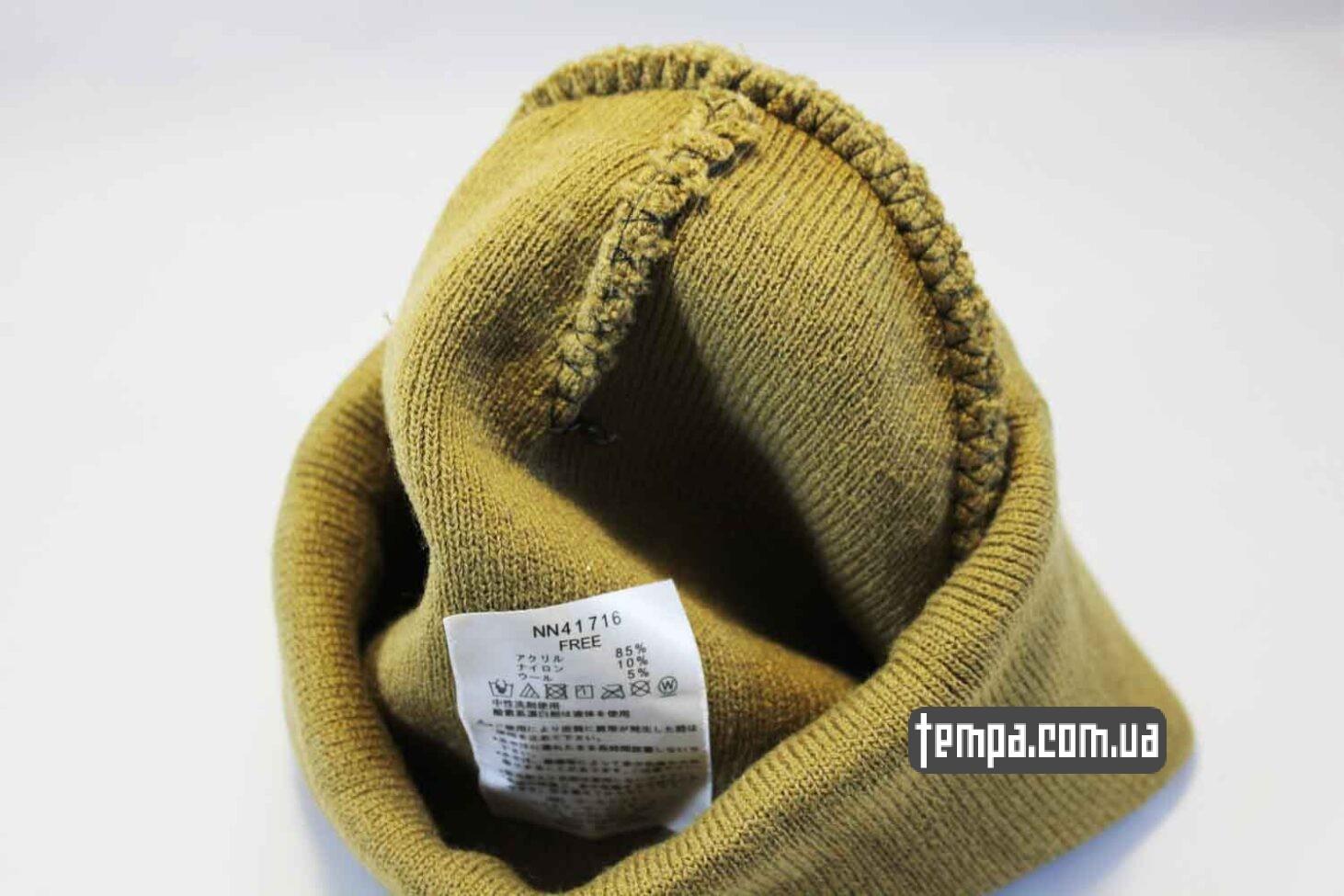 двойная теплая зимняя шапка beanie North Face желтая Норс Фейс Украина