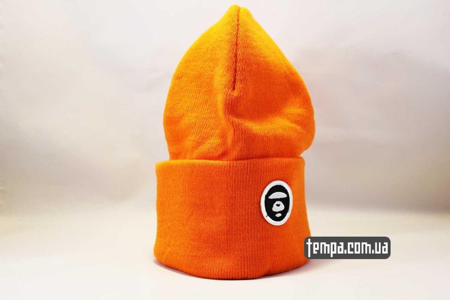 купить оригинальную одежду шапка beanie Aape оранжевая яркая купить Украина