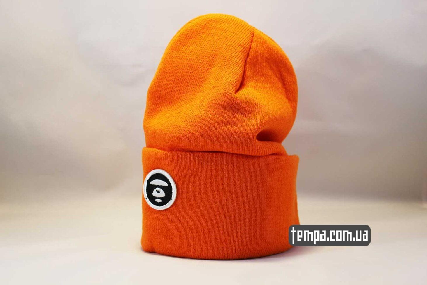 шапка beanie Aape оранжевая яркая купить Украина